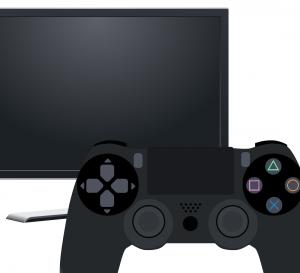 Monitor mit einen PS4 Kontroller davor